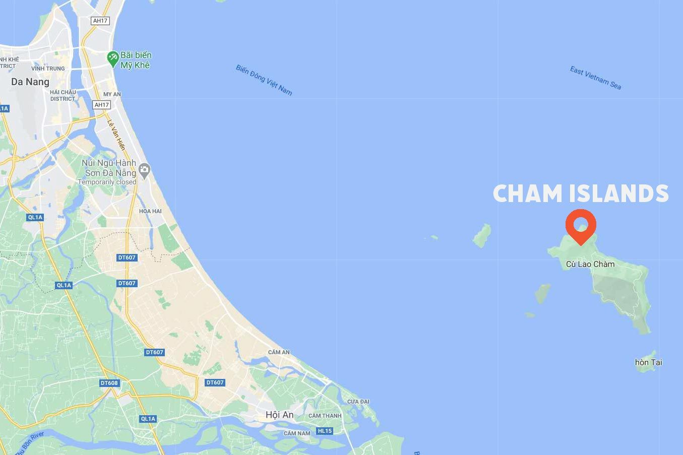 Map showing location of Cham Islands
