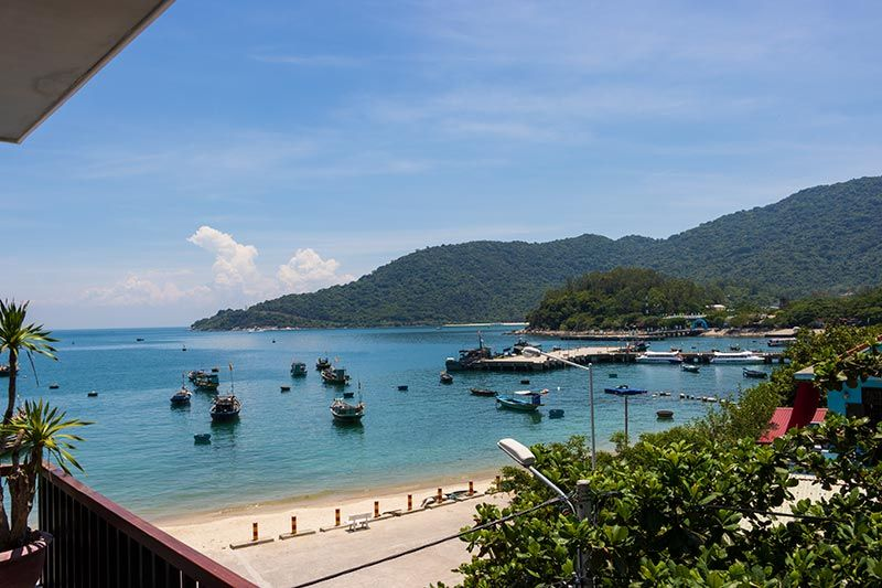 Looking out over Cham Island bay from a room balcony at Monkey Homestay and Bar