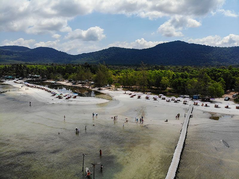 Overhead drone image of Starfish Beach Phu Quoc taken March 13, 2020