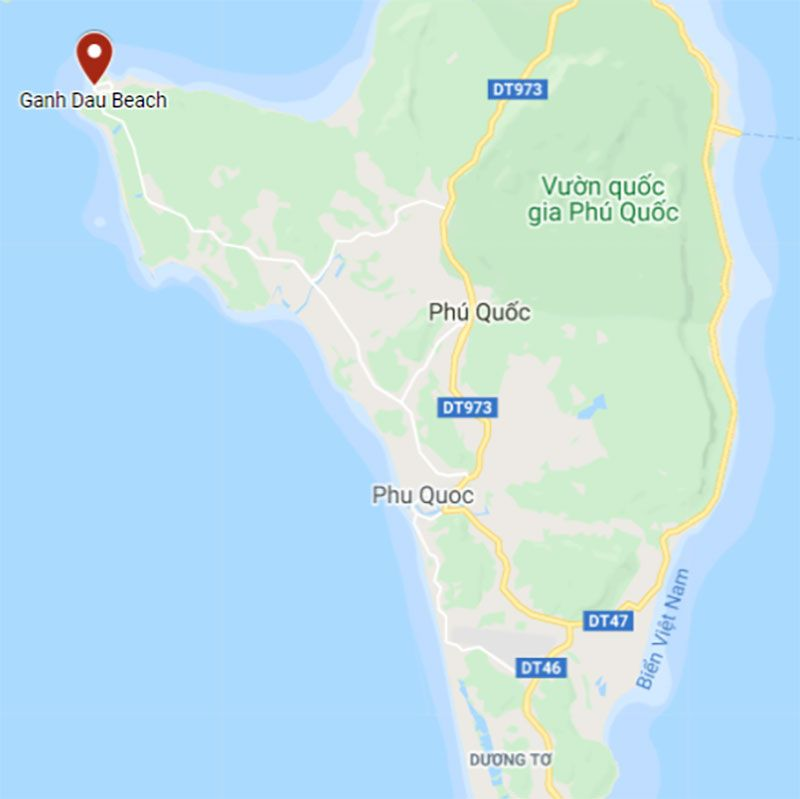 Google Maps location of Ganh Dau Beach northwest Phu Quoc