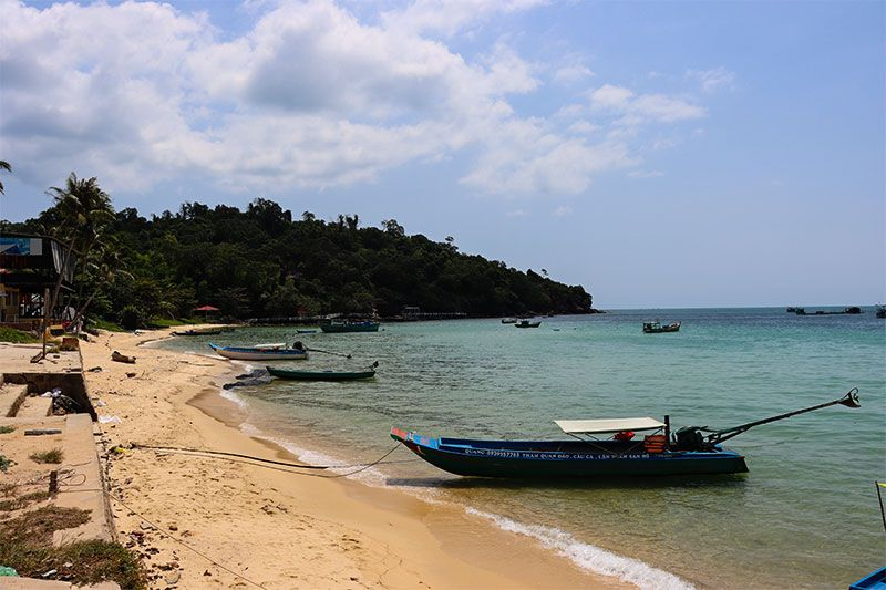 Fishing boats moored on Ganh Dau Beach, Phu Quoc